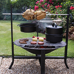 Small Image of Gardeco BUFFALO Large Rotisserie Firepit Set