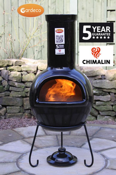 Image of Gardeco Sempra Large Black Glazed Chimalin AFC Chimenea