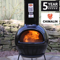 Small Image of Gardeco Sempra Large Black Glazed Chimalin AFC Chimenea