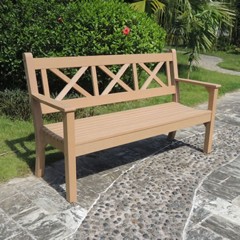 Image of Maywick  Winawood 3 Seater Wood Effect Garden Bench - Teak Finish