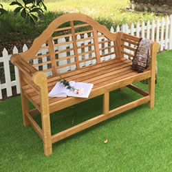 Small Image of Oak Lutyens Garden Bench - 2 Seater
