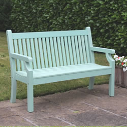 Small Image of Sandwick Winawood 2 Seater Wood Effect Garden Bench - Duck Egg Finish