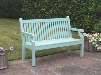 Image of Sandwick Winawood 2 Seater Wood Effect Garden Bench - Duck Egg Finish