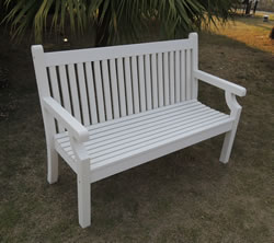 Small Image of Sandwick Winawood 2 Seater Wood Effect Garden Bench - White Finish - COLLECTION ONLY