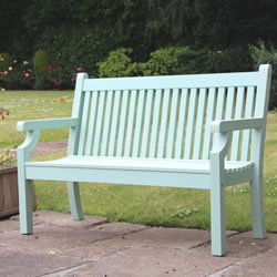Small Image of Sandwick Winawood 3 Seater Wood Effect Garden Bench - Duck Egg Finish