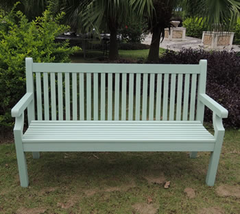 Image of Sandwick Winawood 3 Seater Wood Effect Garden Bench - Duck Egg Finish