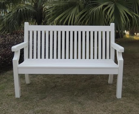 Image of Sandwick Winawood 3 Seater Wood Effect Garden Bench - White Finish