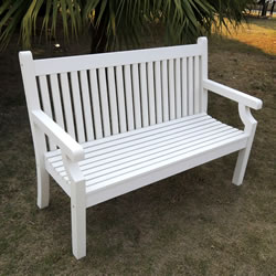 Sandwick Winawood 3 Seater Wood Effect Garden Bench - White Finish