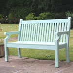 Extra image of Sandwick Winawood 3 Seater Wood Effect Garden Bench - Duck Egg Finish