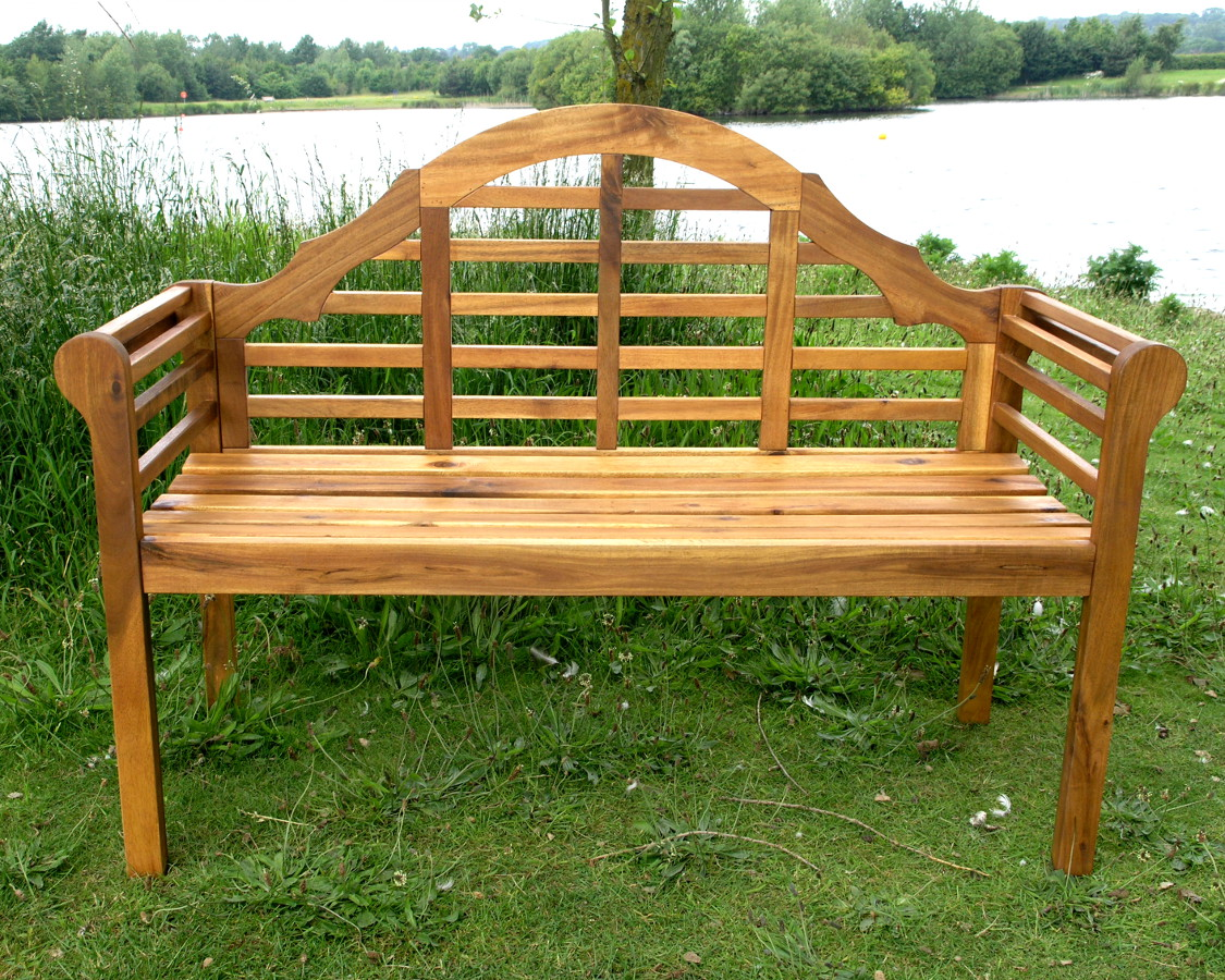 Lutyens acacia hardwood 2 seater bench oil finish garden4less uk shop Lutyens bench