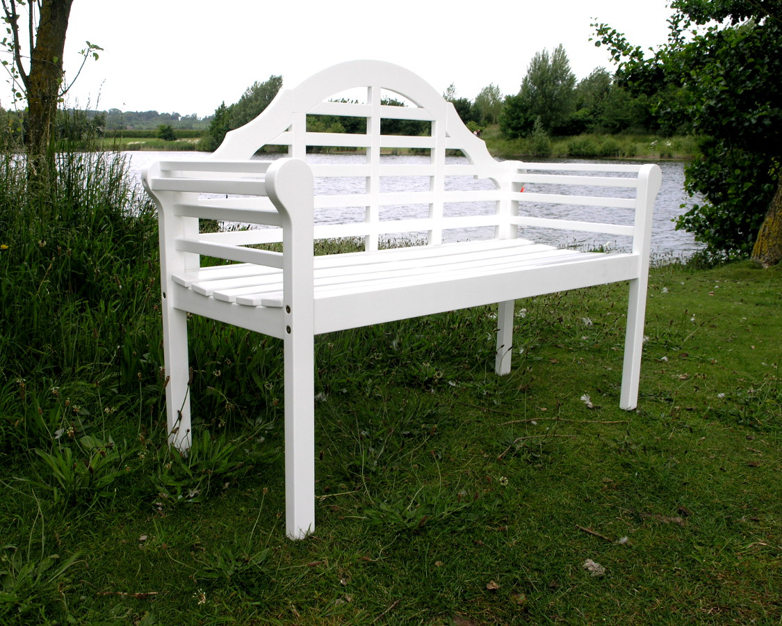 White Lutyens Garden Bench Lutyens Acacia Hardwood 2 Seater Bench Painted White