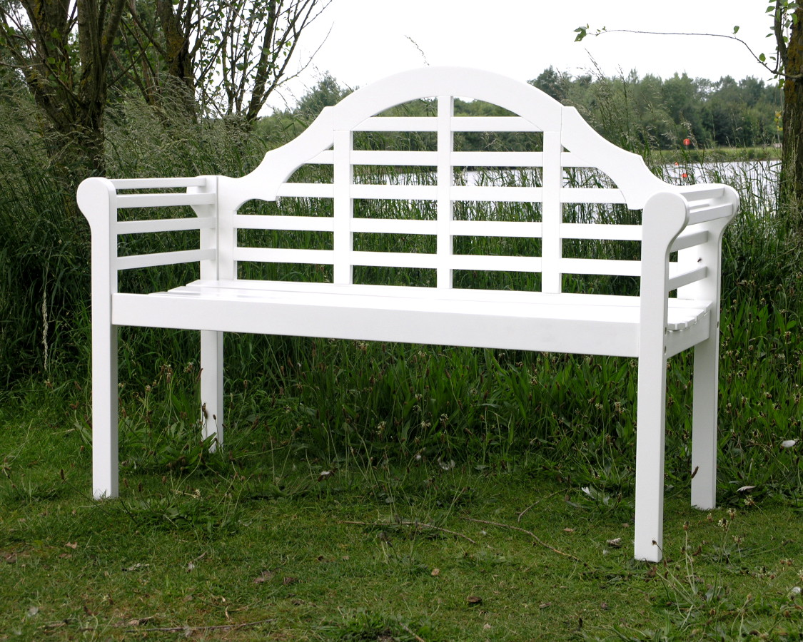 Lutyens acacia hardwood 2 seater bench painted white finish garden4less uk shop Lutyens bench