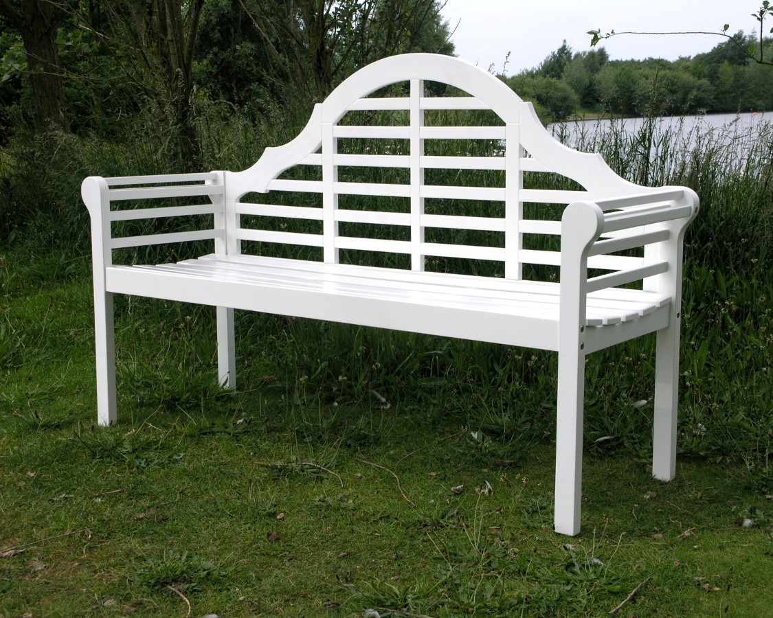 Lutyens acacia hardwood 3 seater bench painted white finish garden4less uk shop Lutyens bench