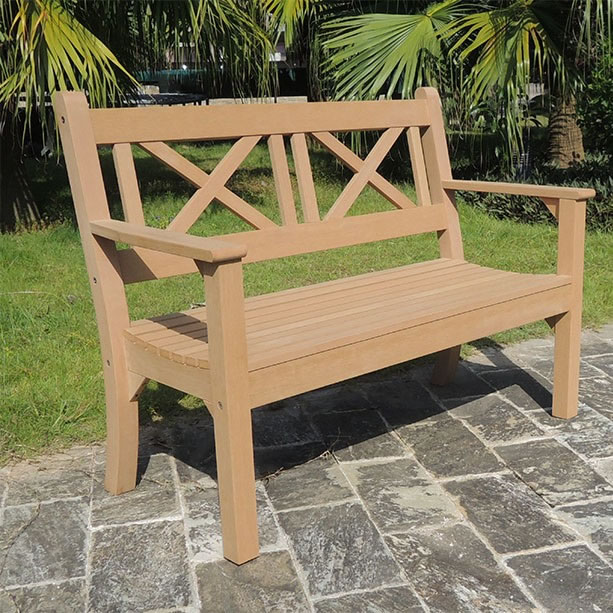 Cool Maywick Winawood 2 Seater Wood Effect Garden Bench Teak Finish Bralicious Painted Fabric Chair Ideas Braliciousco