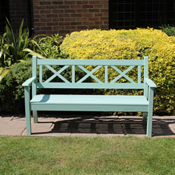 Small Image of Maywick  Winawood 3 Seater Wood Effect Garden Bench - Duck Egg Finish