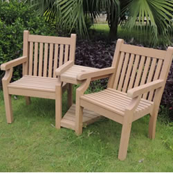 image of sandwick winawood 2 seater wood effect love seat teak finish