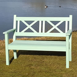 Small Image of Maywick Winawood 2 Seater Wood Effect Garden Bench - Duck Egg