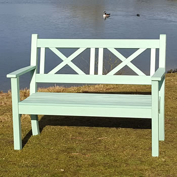 Image of Maywick Winawood 2 Seater Wood Effect Garden Bench - Duck Egg