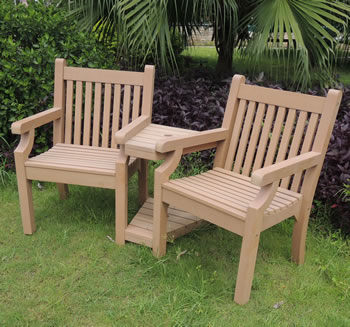 image of sandwick winawood 2 seater wood effect love seat teak finish - Wooden Garden Furniture Love Seats