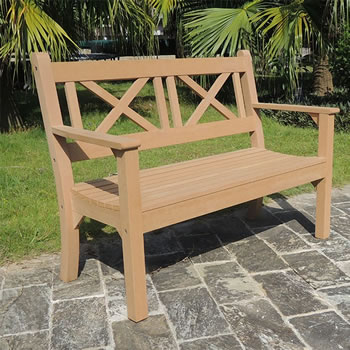 Image of Maywick Winawood 2 Seater Wood Effect Garden Bench - Teak Finish