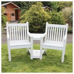 Small Image Of Sandwick Winawood 2 Seater Wood Effect Love Seat   White