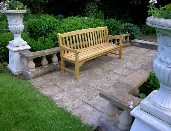 Heritage oak 4 seater garden bench 299 garden4less uk for Gardening 4 less reviews