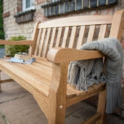 Small Image of Heritage Oak 4ft Garden Bench - 2 Seater