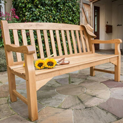 Small Image of Heritage Oak 5ft Garden Bench - 3 Seater