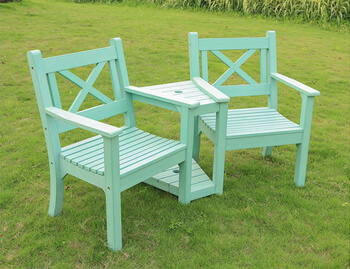 Image of Winawood Maywick 2 Seater Garden Love Seat Bench - Duck Egg Finish