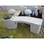 Polished Pink Granite Bench and Planter