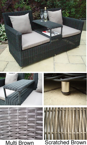 Rattan 2 Seater Convention Garden Bench