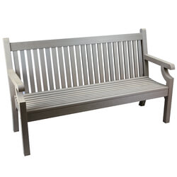 Small Image of Sandwick Winawood 3 Seater Wood Effect Garden Bench - Grey Finish