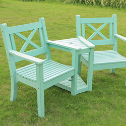 Small Image of Winawood Maywick 2 Seater Garden Love Seat Bench - Duck Egg Finish