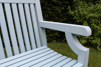 Extra image of Sandwick Winawood 3 Seater Wood Effect Garden Bench - Powder Blue