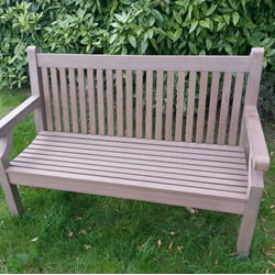 Sandwick Winawood 3 Seater Wood Effect Garden Bench - Brown Finish