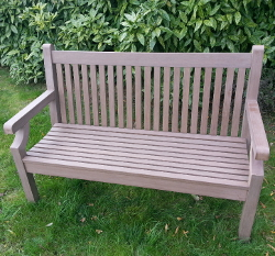 Image of Sandwick Winawood 2 Seater Wood Effect Garden Bench - Brown Finish