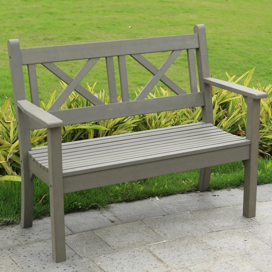 Maywick Winawood 2 Seater Wood Effect Garden Bench Grey