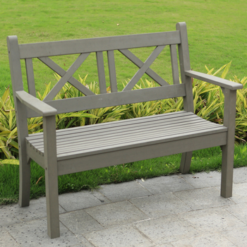 Image of Maywick Winawood 2 Seater Wood Effect Garden Bench - Grey