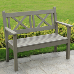 Small Image of Maywick Winawood 2 Seater Wood Effect Garden Bench - Grey