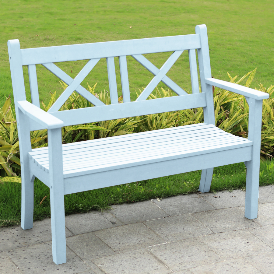 Miraculous Maywick Winawood 2 Seater Wood Effect Garden Bench Powder Blue Bralicious Painted Fabric Chair Ideas Braliciousco