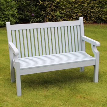 Image of Sandwick Winawood 2 Seater Wood Effect Garden Bench - Powder Blue