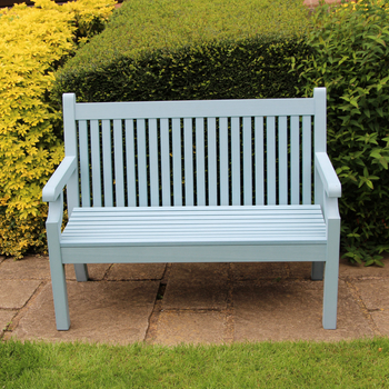 Image of Sandwick Winawood 3 Seater Wood Effect Garden Bench - Powder Blue
