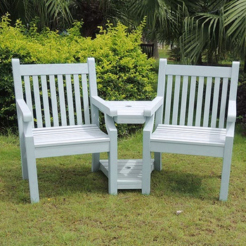 Image of Sandwick Winawood 2 Seater Wood Effect Love Seat - Powder Blue
