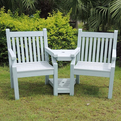 Small Image of Sandwick Winawood 2 Seater Wood Effect Love Seat - Powder Blue