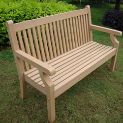 Small Image of Sandwick Winawood 2 Seater Wood Effect Garden Bench - Teak Finish