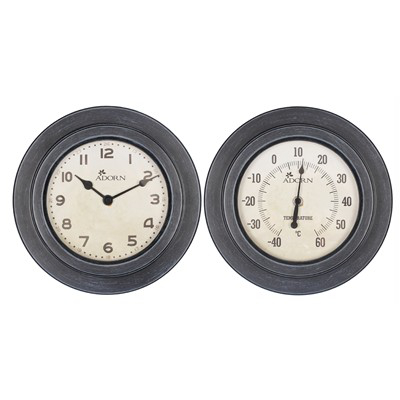 Garden Nation Luddington Clock And Thermometer Twin Pack