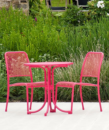 Beau Small Image Of Portofino Pink Round Bistro Set By Alexander Rose
