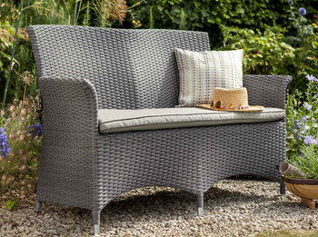 Image of Appleton Weave 2 Seater Garden Bench by Hartman Slate