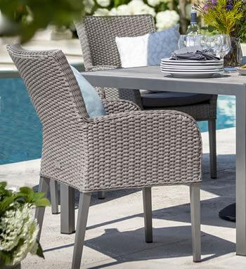 Atlanta ceramic fibreline 4 seat dining set in platinum for Outdoor furniture atlanta