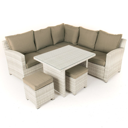 Small Image of Baby Finley Corner Sofa Dining Set and Stools